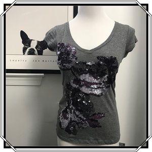 Express Gray/Purple Sequin Shirt NWOT XS